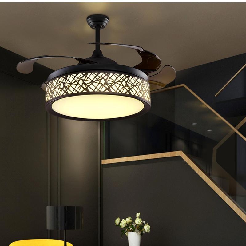 뜨거운 판매 LED 천장 팬 조명 램프 타이밍 원격 제어 주파수 변환 모터 샹들리에 조명 펜던트 램프 조명 보이지 않는