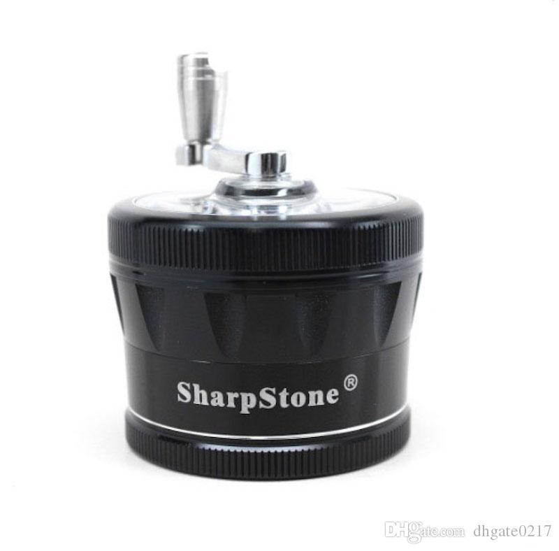 음각 sharpstone V2 허브 그라인더 그라인더 무료 배송 흡연 알루미늄 핸들 핸드 크랭크 CNC 금속 날카로운 돌 담배 흡연에 대한