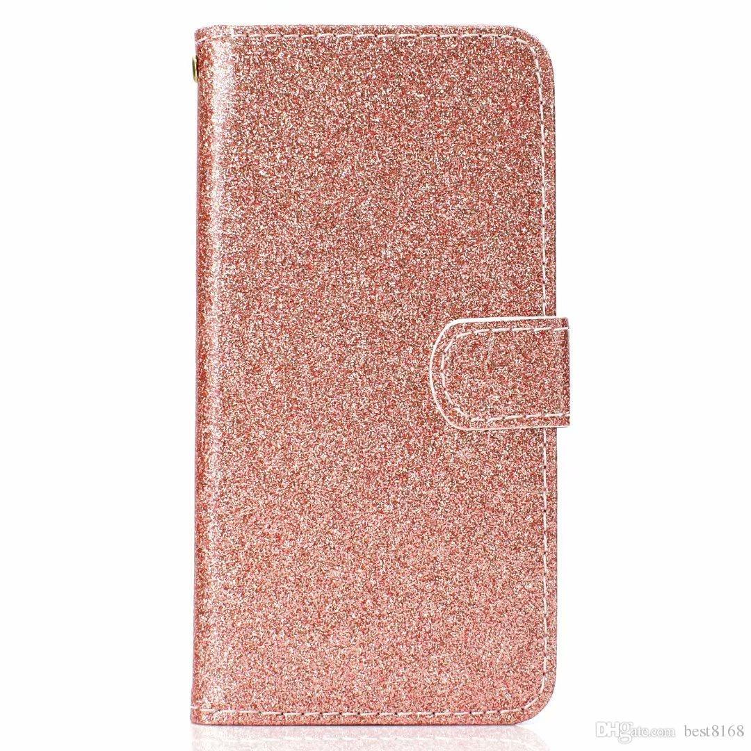 Redmi 용 5 Note 5A Bling Glitter Wallet iPhone 케이스 용 가죽 케이스 XR XS MAX X 10 8 7 S10 S10e 반짝이는 고급 플립 커버 Sparkle Shiny Strap