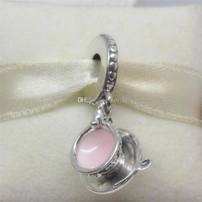 925 Sterling Silver Enchanted Tea Cup Dangle Pale Pink Enamel European Charm