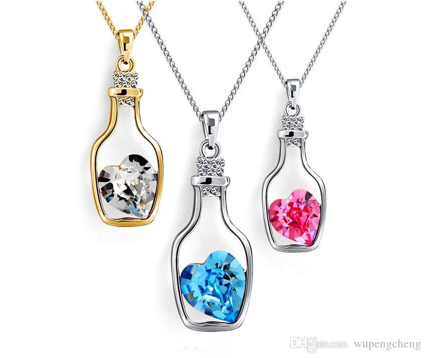 A variety of colors, high quality white copper Austrian crystal lover drifting lucky bottle pendant necklace class girl element jewelry.