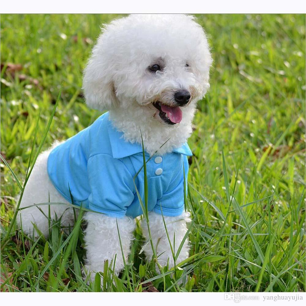 12pcs/lot Cotton Pet Dog Polo Shirts Sugar Colors Fashion Pet Clothes for Spring and Summer