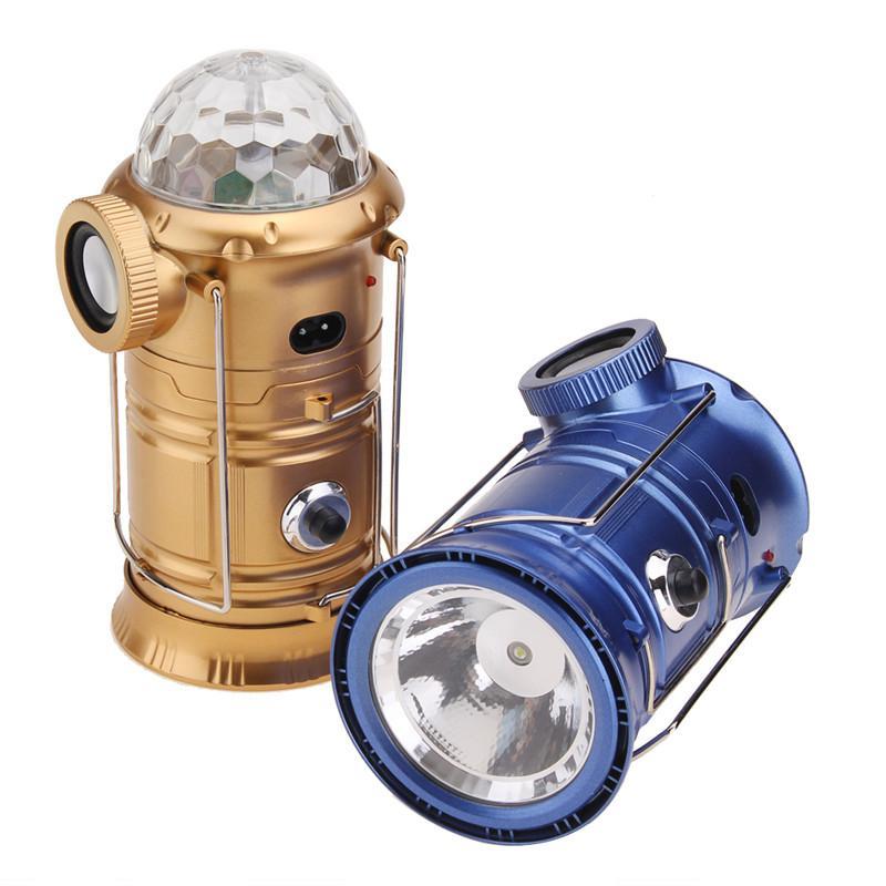 Camping Outdoor Lanterna portátil com alto-falante Bluetooth colorido Stage Luz LED multifuncional lanterna recarregável lâmpada Tent
