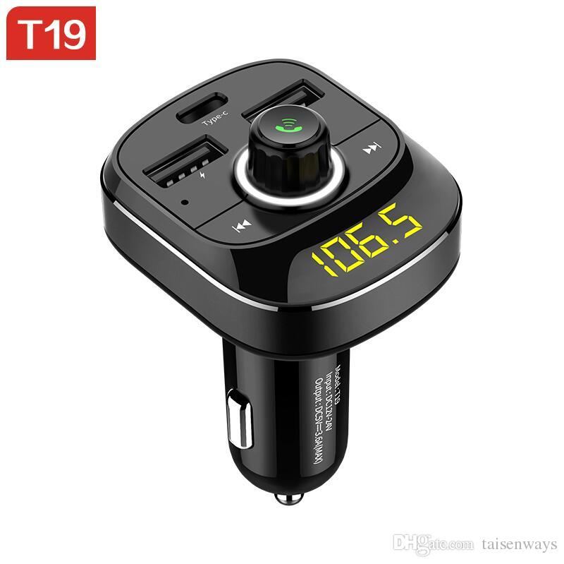 T19 Car MP3 Player Wireless Bluetooth 4.1 Car Charger Bluetooth FM Transmitter Adapter Car Type-c Dual USB Mobile Phone Chargers