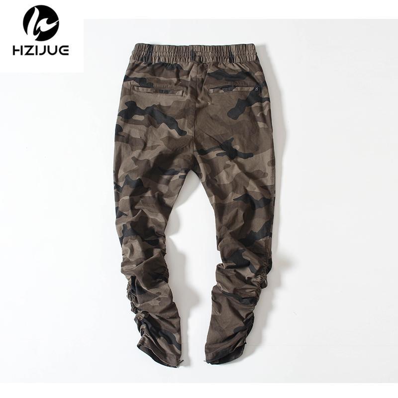 Los pantalones de camuflaje del ejército HZIJUE casual flaco cremallera Botton pantalón Hip Hop sólido Pantalones de la calle pantalones de los hombres Joggers