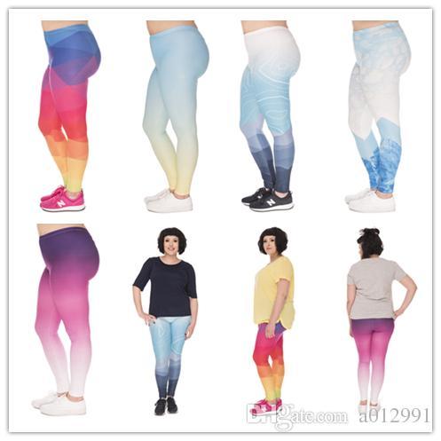 DHL FREE!! 10pcs/lot Plus Size Leggings Women Ombre 3D Printing Stretch High Waist Plus Size Trousers Yoga Pants For Plump Women 5 Styles