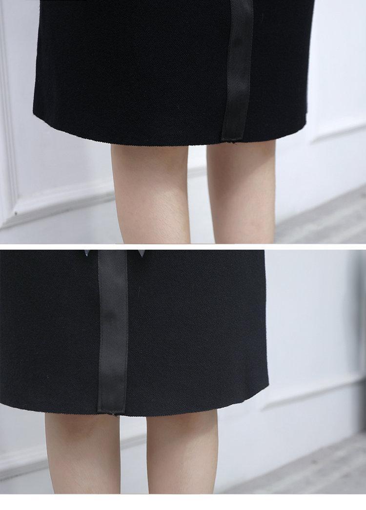 New 2019 Skirt Autumn Elegant Office Skirts Women High Waist Faldas Mujer Casual Black Skirt Chic Bow Saia Femme Invierno (9)