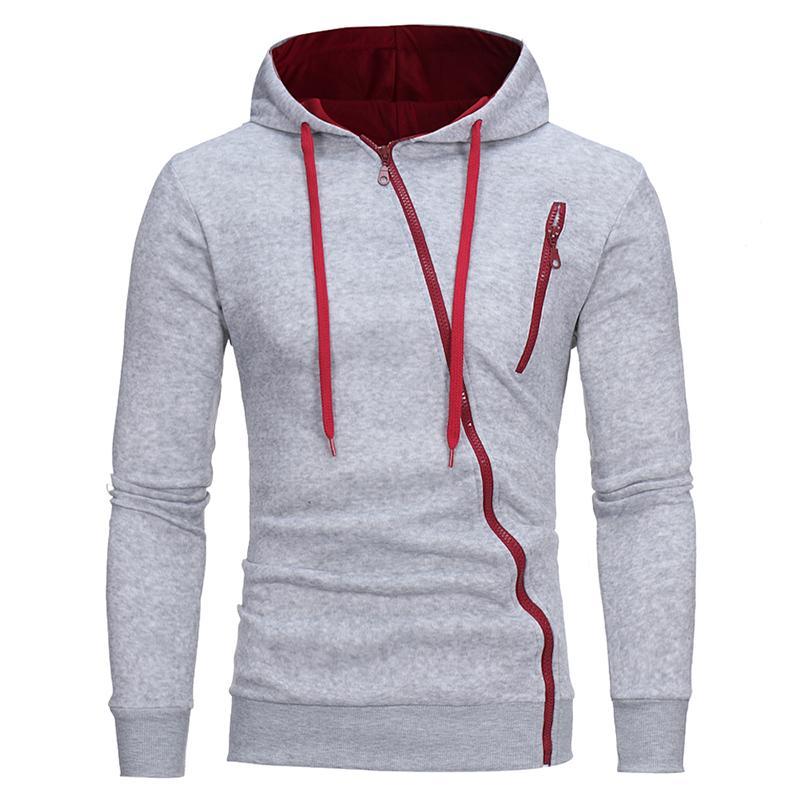Sportswear homens Sólidos casuais de Alta qualidade de Algodão Fino Hoodies homens da moda Com Cordão Oblíqua zipper Cardigan Moletom Com Capuz D18100903