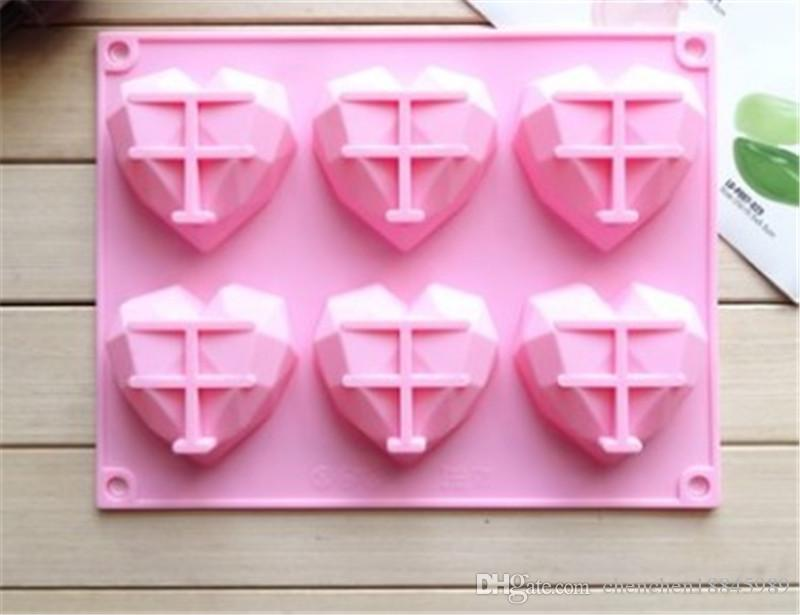 6 cavity diamonds soap molds mousse Cake Mold Silicone Mold For Handmade Soap Candle Candy chocolate baking moulds kitchen tools ice molds