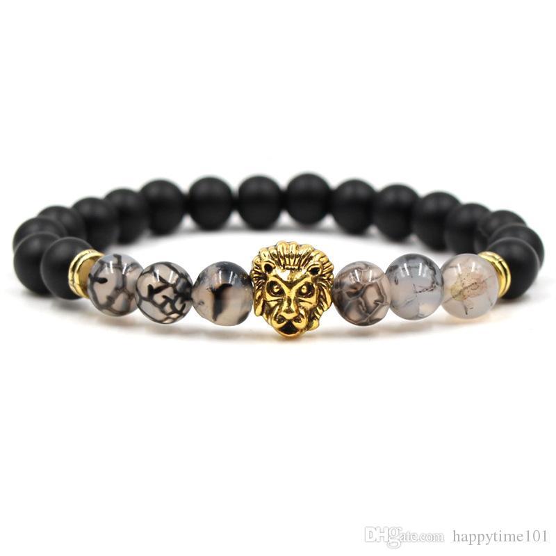 Bracciale in pietra con design a forma di drago nero dorato 8MM Bracciale con teschi di leopardo testa di leone leopardata