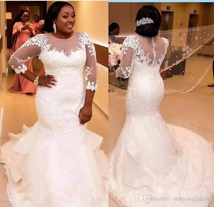 Atractivo blanco africano cordón de la sirena vestidos de novia más el tamaño de la tripulación Sheer cuello vestidos de boda de novia vestidos Vestido de Noiva