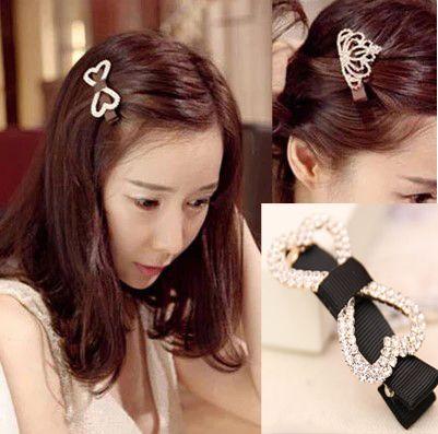 Hot sale Rhinestone Hair Clips Women Heart Shape Duckbill Clip Lady Hair Accessories 2 Styles Free Shipping