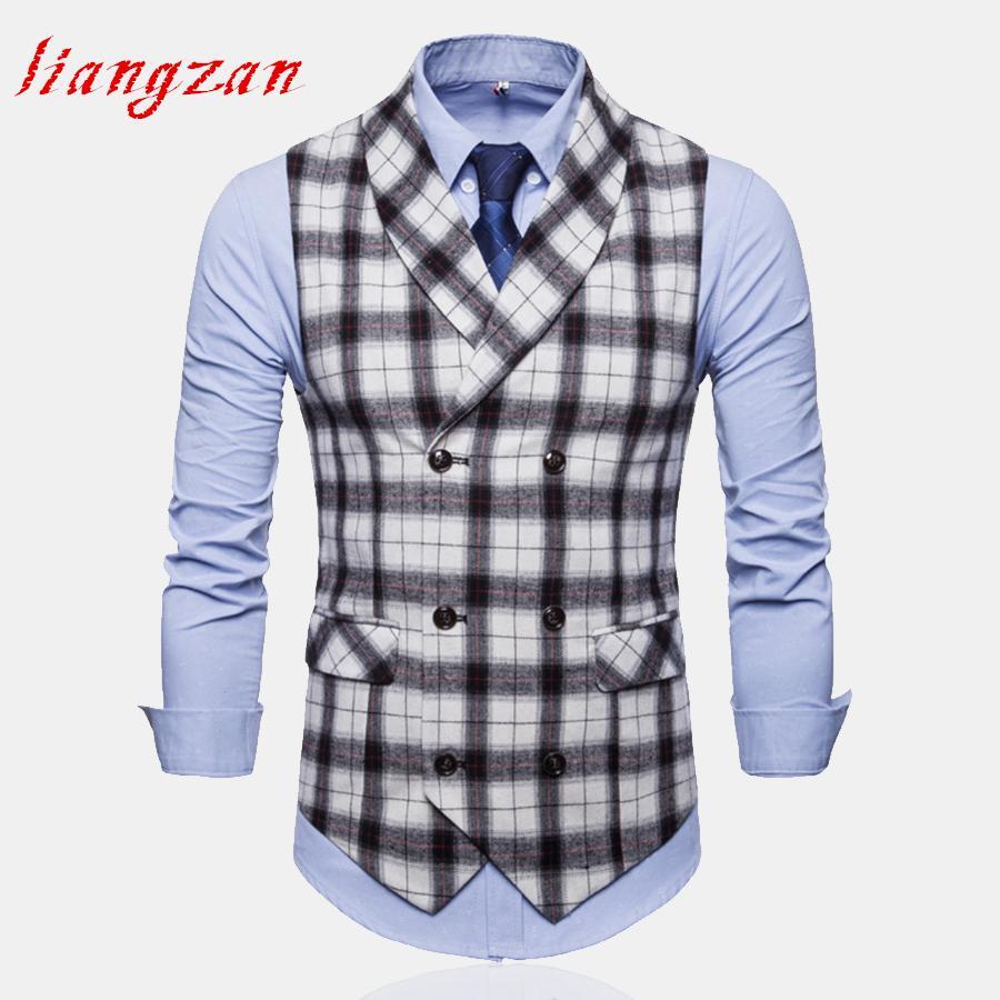 Uomini Plaid Suit Vest Affari Slim Fit Gilet Brand Design Moda smoking a doppio petto M-4XL senza maniche del vestito Vest SL-T259