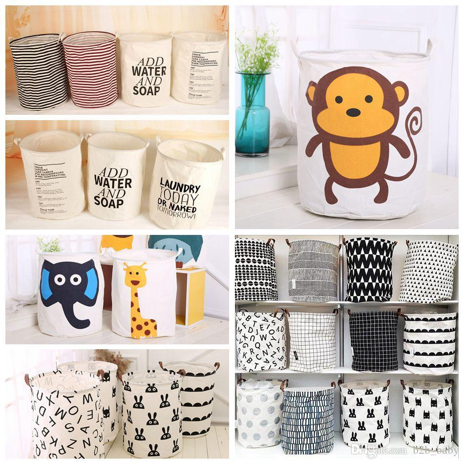 Ins Storage Baskets 40*50cm Dirty Clothes Laundry Basket Bins Kids Room Toys Storage Bags Bucket Clothing Organization 33 Styles OOA4325