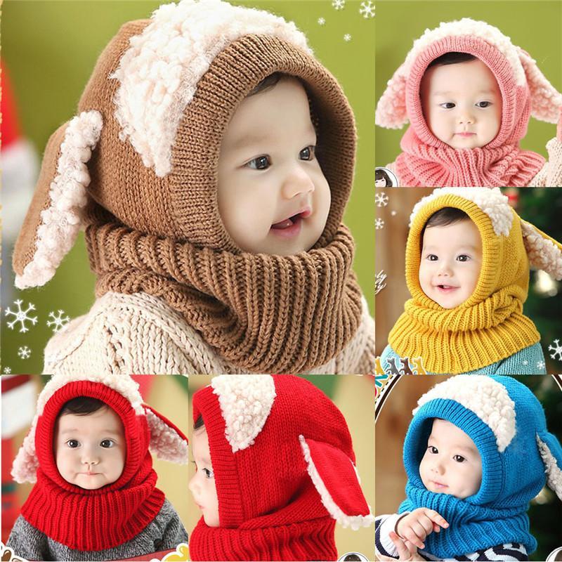 Bebek Şapka Eşarp Ile Yürümeye Başlayan Kış Beanie Sıcak Şapka Kapşonlu Eşarp Kış Kulaklığı Knied Kap Sevimli Karikatür Çocuklar Set