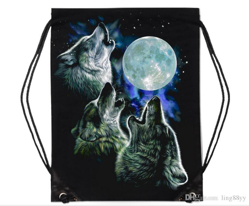 High Quality 3D Animal Printing Backpack Casual Shopping Bag Recycle Bag Cool Backpack Cartoon Portable Street Rock Style Canvas Bundle Bag