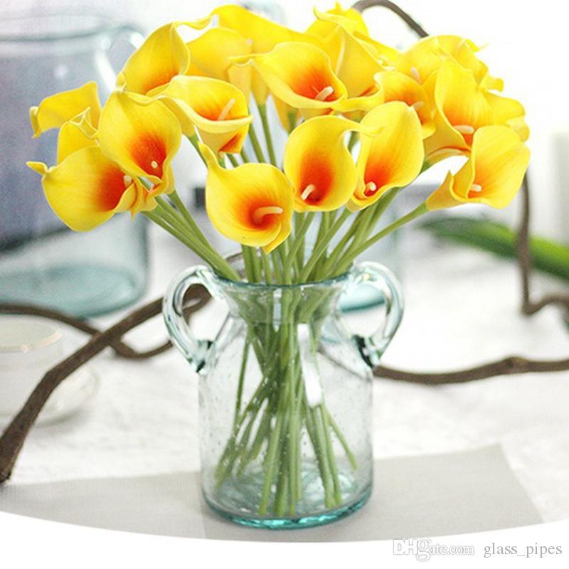 Fleur artificielle PU Real Touch Mini Calla Lily Fleurs Hôtel Arum décoratif bouquet pour le mariage Décorations 13 couleurs YW1069