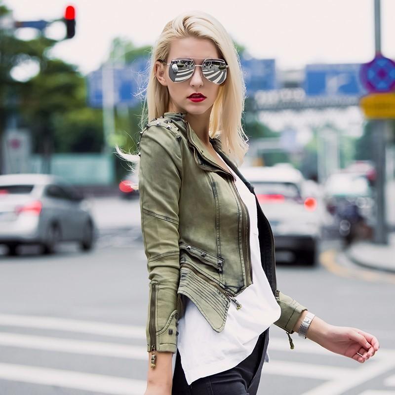 Essayez tout moto veste femmes 2018 mode Silm Rivet Denim veste femme Vintage Punk Rock dames coton Jeans veste S18101203