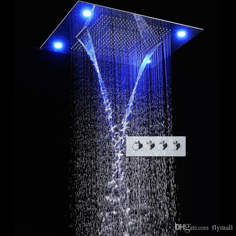 """31"""" Large Bathroom Rainfall Shower Head 600*800mm Colorful LED Shower Head Faucet Set Multifunction Rainfall Shower Head with Remote Control"""