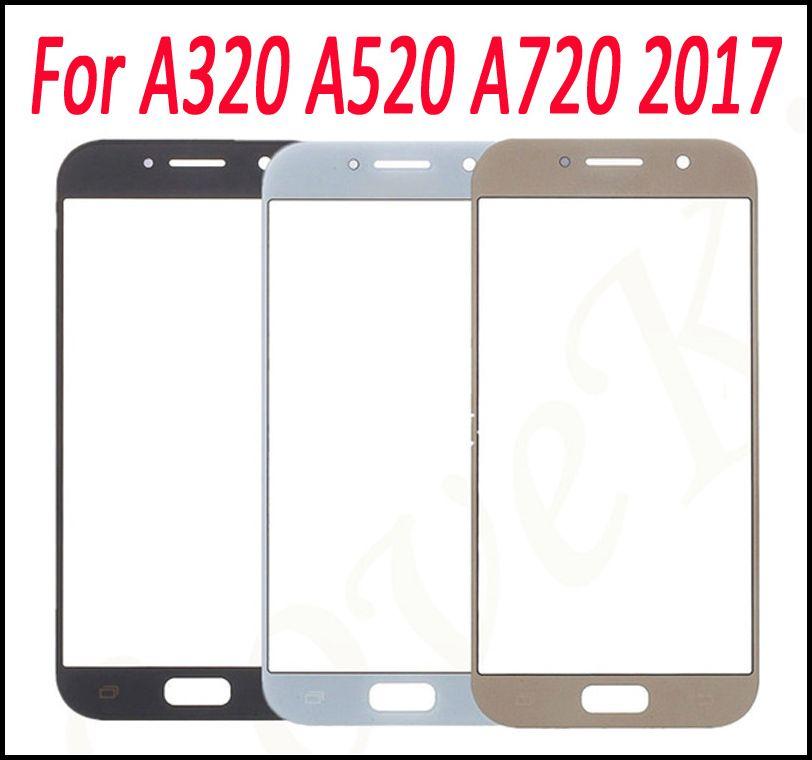 استبدال لوحة اللمس ل غالاكسي A320 A520 A720 2017 شاشة تعمل باللمس LCD أمام زجاج عدسة الخارجي أسود أبيض الذهب
