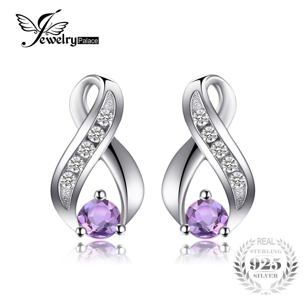 JewelryPalace Fashion 0.3ct Round Natural Amethyst Stud Earrings For Women Solid 925 Sterling Silver Brand Gemstone Fine Jewelry D1892601