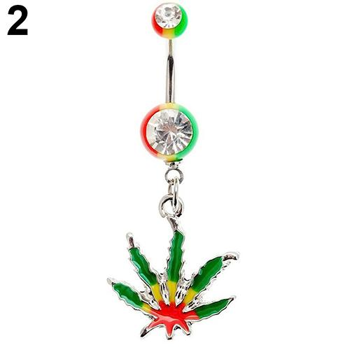 Women Leaf Pendant Navel Belly Button Barbell Ring Body Piercing Jewelry