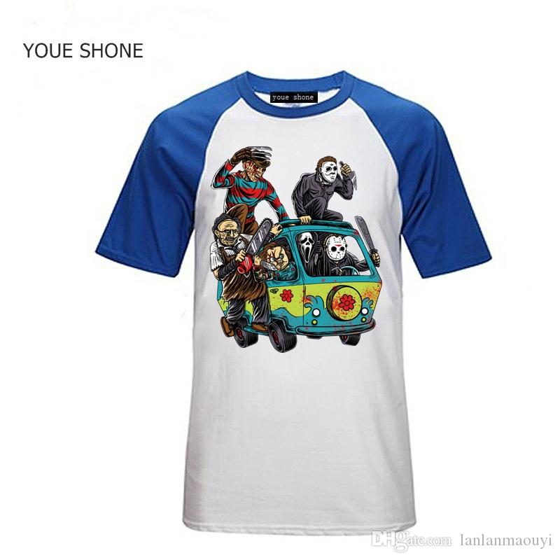 fashion Uomo T-shirt The Horror T-Shirt Massacre Machine Chucky Jason Voorhees Michael Myers Camicia Freddy Cotton Short Sleeve pullover Polos