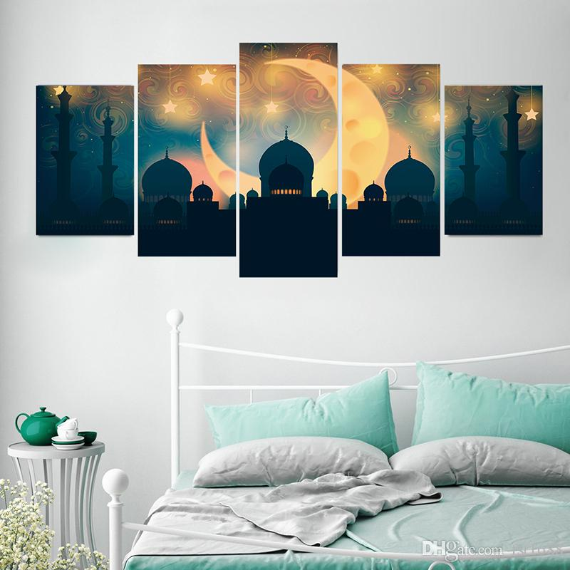 Muslim Calligraphy Poster Arabic Islamic Moon PVC Combination Wall Sticker Pictures Akbar Waterproof Decal Home Living Room Art Decoration