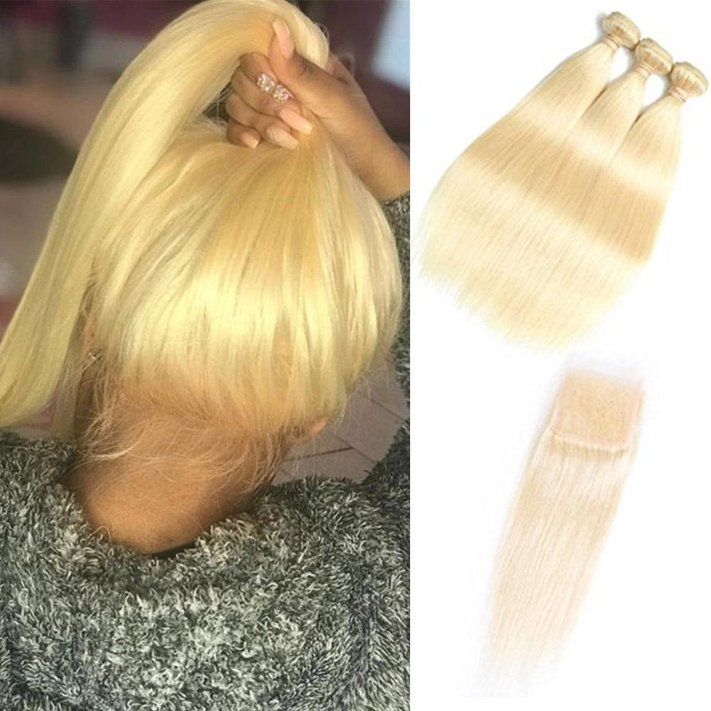 Brazilian Virgin Hair Bundles with Closures 613 Blonde Bundles with Frontal 10-30 inch Straight Human Hair 3 Bundles with 4*4 Closure