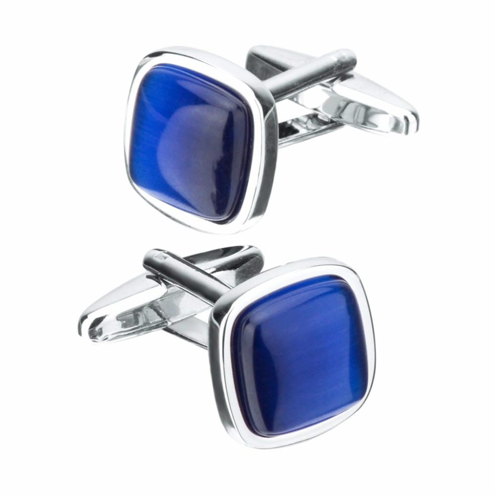 SAVOYSHI Blue Opal Stone Cufflinks for Mens Shirt Cuff Nails High Quality Square Cuff Links Wedding Grooms Gift Jewelry
