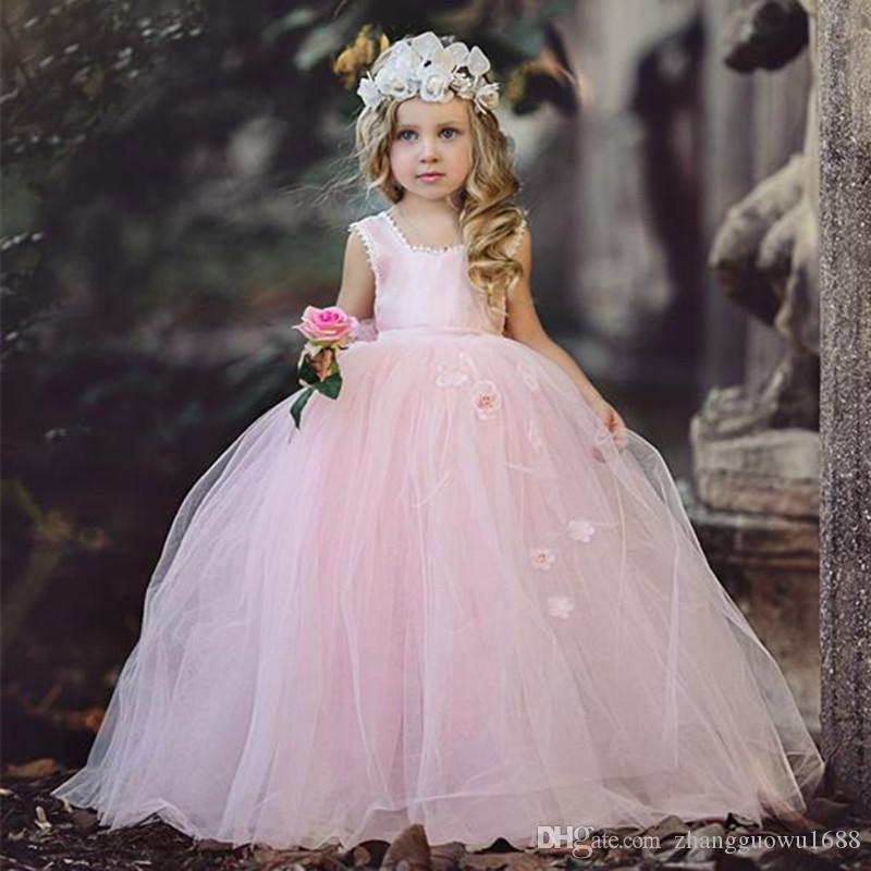 Vestidos de bola de fotos reales para niñas con corsé de correas espalda 2018 Vestidos de niñas de flor baratos de tul Vestidos de boda de encaje acanalada
