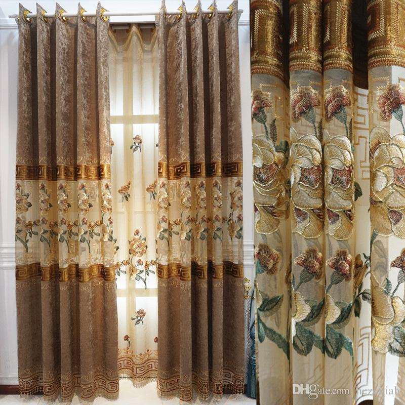 Modern Chinese style Chenille water soluble patchwork embroidered curtain fabric custom living room curtain finished