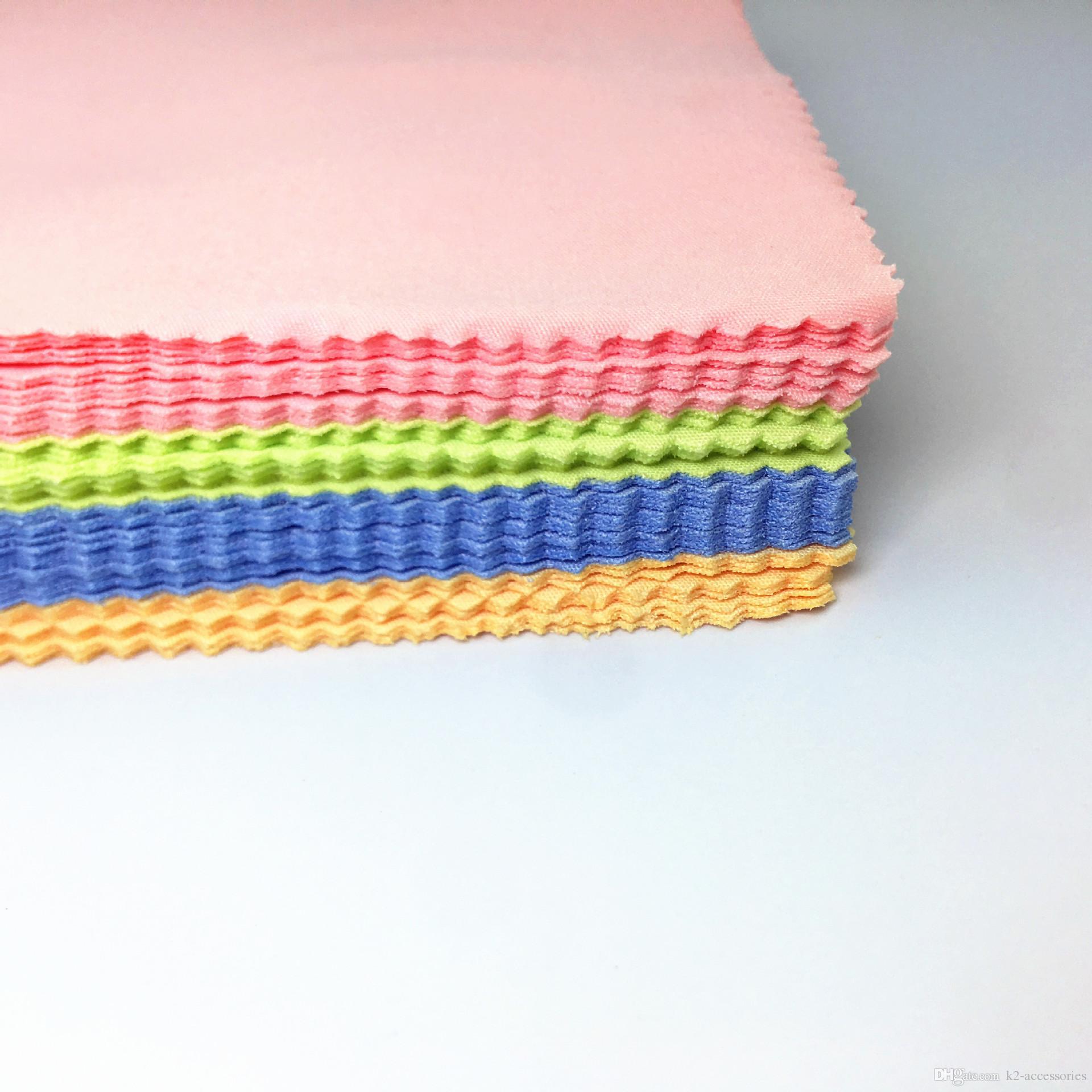 ¡BARATO! Lentes de fibra Lente de tela Paño de limpieza Lentes de gafas de sol Lente de microfibra Paños de limpieza 4 colores mezclados 13 * 13 cm
