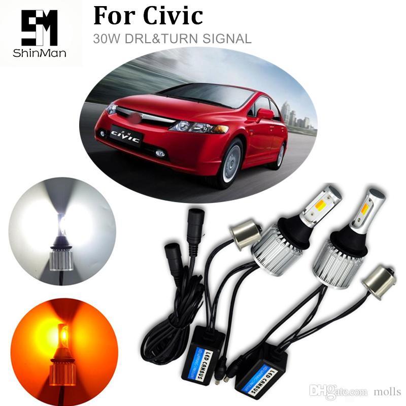 2 adet Çift Renkli Switchback LED DRL Dönüş Sinyali Işık 30 w cob drl Honda civic araba aksesuarları için sinyal açın