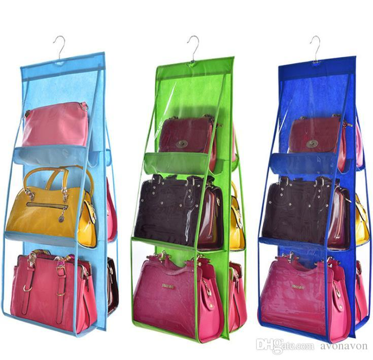 Heißer Verkauf Tasche PVC Aufbewahrungstasche Closet Garderobe Rack Kleiderbügel Halter Für Mode Handtasche Geldbörse Beutel Taschen Veranstalter Fall Tasche a372