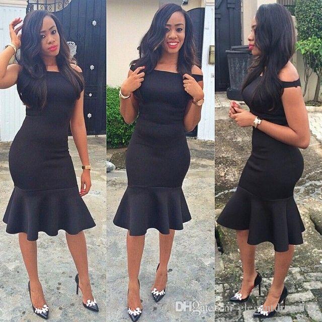 Simple Black Girls Cheap Short Cocktail Dresses Off Shoulder Ruffles Knee Length Sheath Short Prom Party Evening Dresses For Women