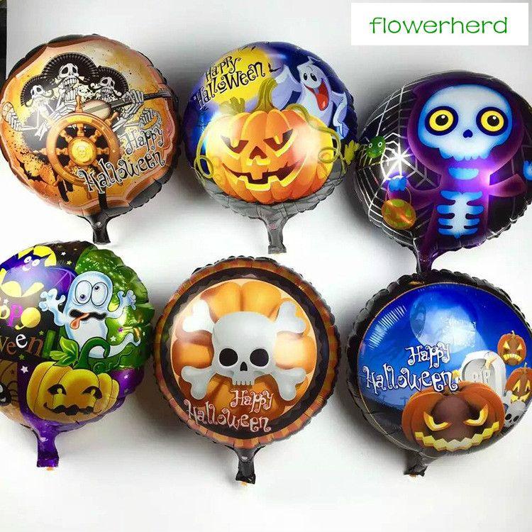50 Adet Yuvarlak Alüminyum Cadılar Bayramı Dekorasyon Balon 18 Inç Şeytan Hayalet Kabak Sorcerer Çizmeler Balon