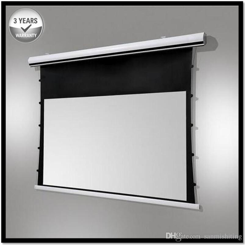 Premium Tab-Tension, 16:9, 4K Tensioned Electric Motorized Projection Projector Screen, HD Progressive White
