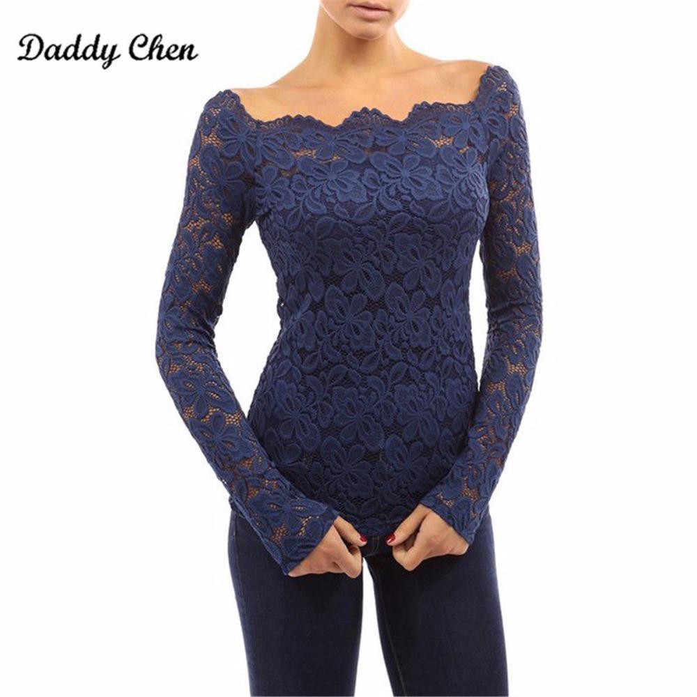 Mulheres sexy blusa de renda chiffon transparente fora do ombro superior feminino preto camisa de manga longa mulheres barra pescoço chemise femme