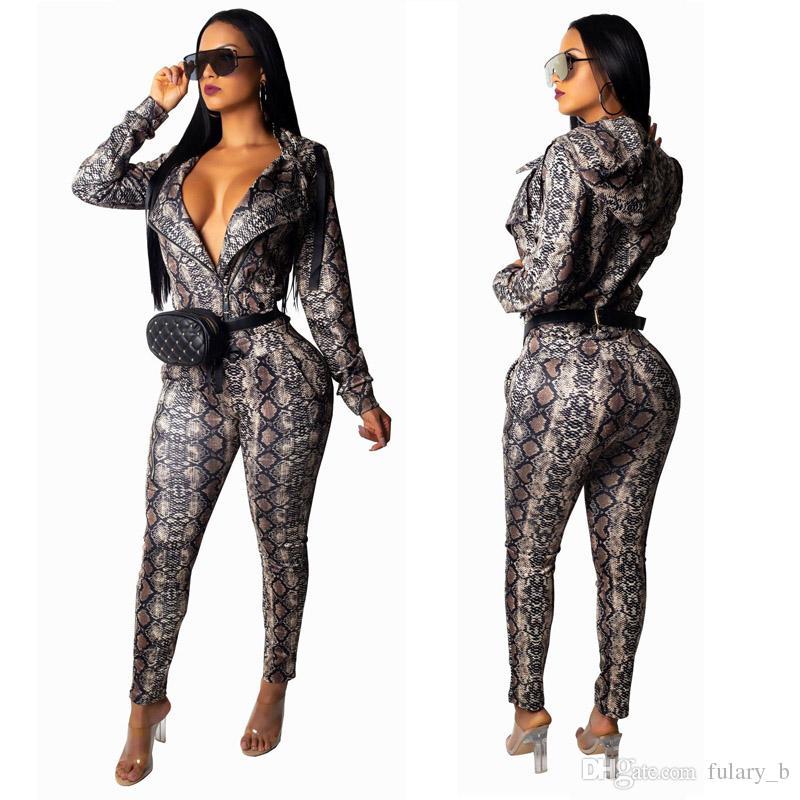 (811) 2XL 여성 바지 정장 투피스 의상 겨울 옷 까마귀 자켓 스트레이트 팬츠 세트 파이썬 인쇄 섹시한 패션 캐주얼