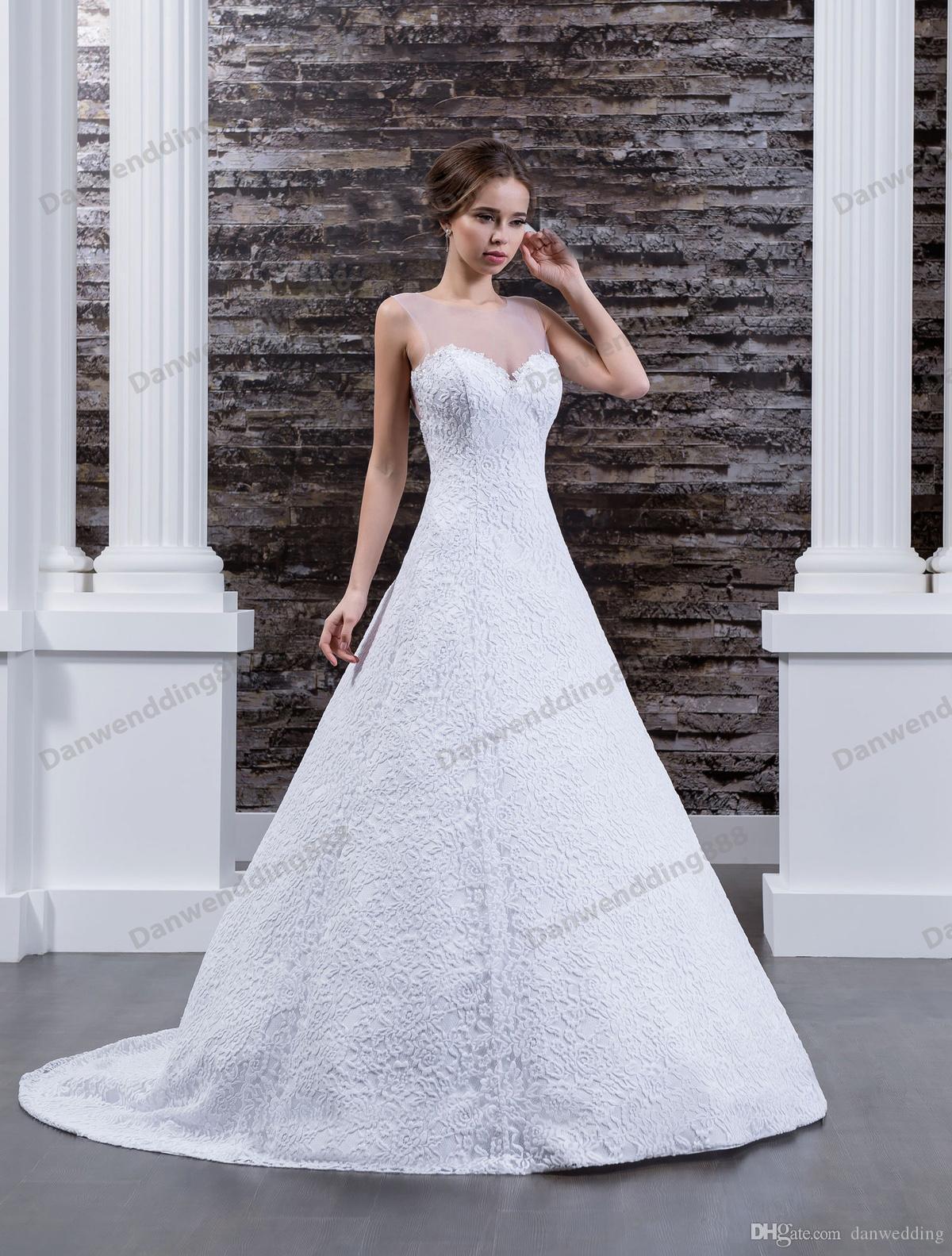 Beauty White Lace Scoop Buttons A-Line Wedding Dresses Bridal Pageant Dresses Wedding Attire Dresses Custom Size 2-16 ZW608075