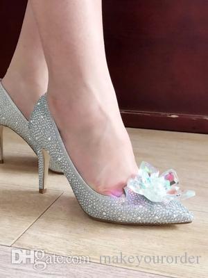 7cm 5cm heel sliver big size 41 Crystal shoes dressing with gauze white Cinderella water diamond bride wedding shoes 481