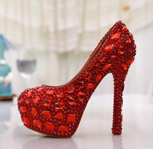 Free Ship 2018 New Rhinestine Red Wedding Shoes Women High Heels Sexy Party Dress Platform Pumps Round Toe Bridesmaid Single Shoe 14cm