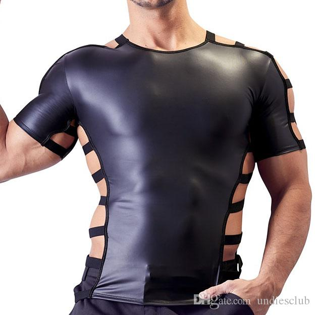 Sexy Slim Mens T shirts Faux Leather Hollow each side O neck Short Sleeves Gay Club Party Wear Novelty Punk Style Tee top
