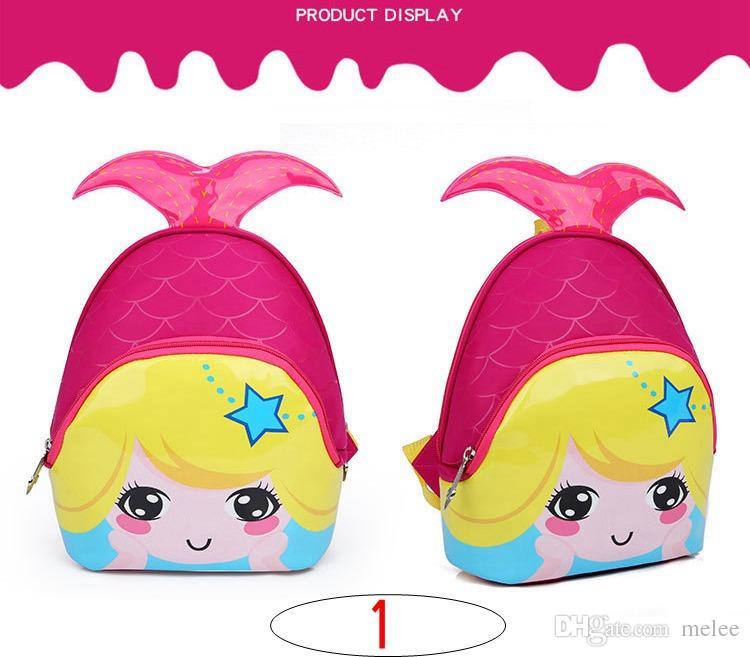 INS Kids Mermaid fish Bags New Fashion Cute Waterproof Children Backpacks Cartoon Mermaid School Bags for Kindergarten Girls Baby Bag