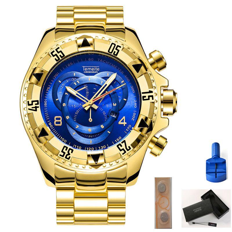 temeite 남성 시계 금 블루 스테인레스 스틸 방수 달력 큰 다이얼 남자 손목 시계 선물 상자 배터리 도구 석영