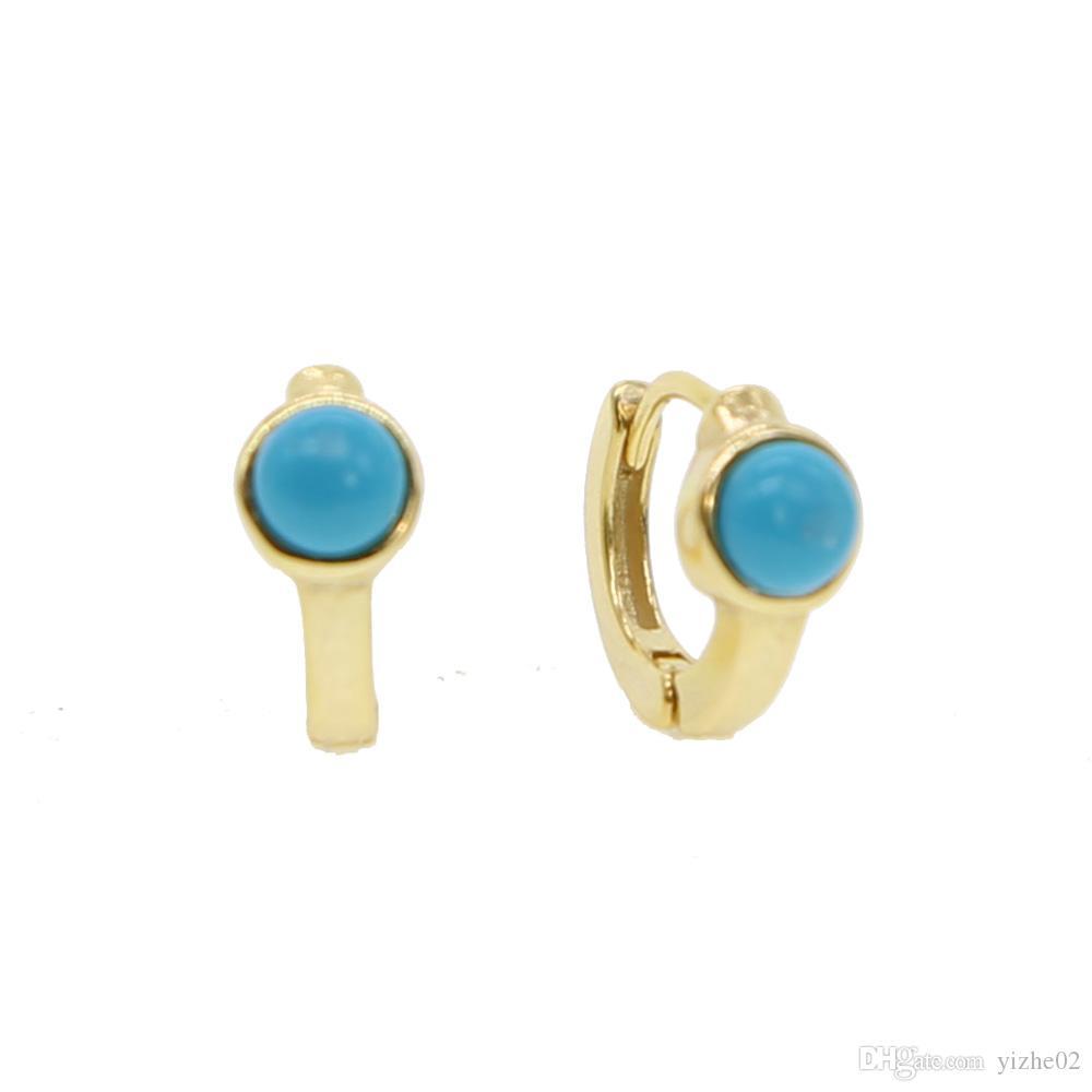 2018 New fashion Jewellery mini hoop single stone turquoises Gem 925 Sterling silver Gold filled Huggie hoop women girl small hoop earring