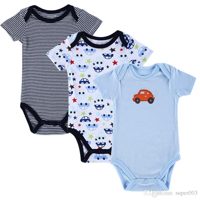 3 ADET / GRUP Erkek Bebek Giysileri Yenidoğan Bebek Romper Set Kısa Kollu Pamuklu Bebek Romper Yürüyor İç Bebek Giyim