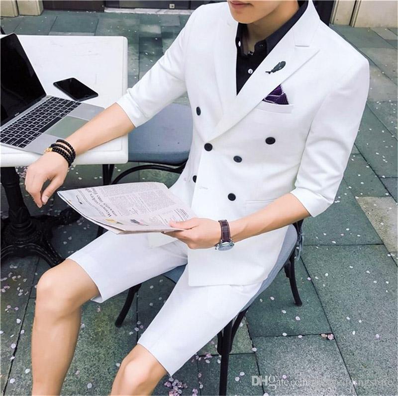 Красивый 2018 элегантный белый свадебный мужской костюм с короткими брюками Slim Fit модные деловые костюмы молодые лучшие мужчины летние костюмы комплект куртка + брюки