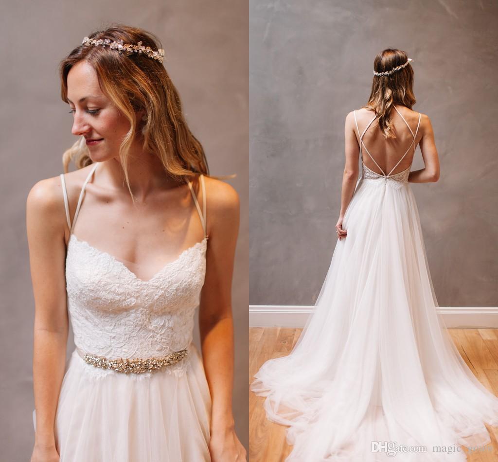 2019 Bohemian baratos Praia Vestidos de casamento do laço com faixas Spaghetti Sweep Trem do vestido de casamento vestidos de noiva vestido de novia